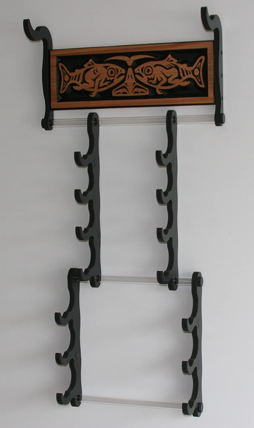 Native American Flute Rack *Cradle Style *Expandable* Salmon People PanoView Frames AE-Creation-3001