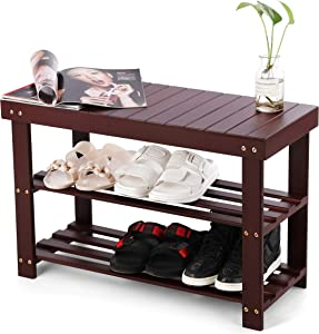 Bamboo Shoe Rack Bench Three Tier Shoe Organizer Storage Shelf Seat Holder Home Entryway Hallway Furniture
