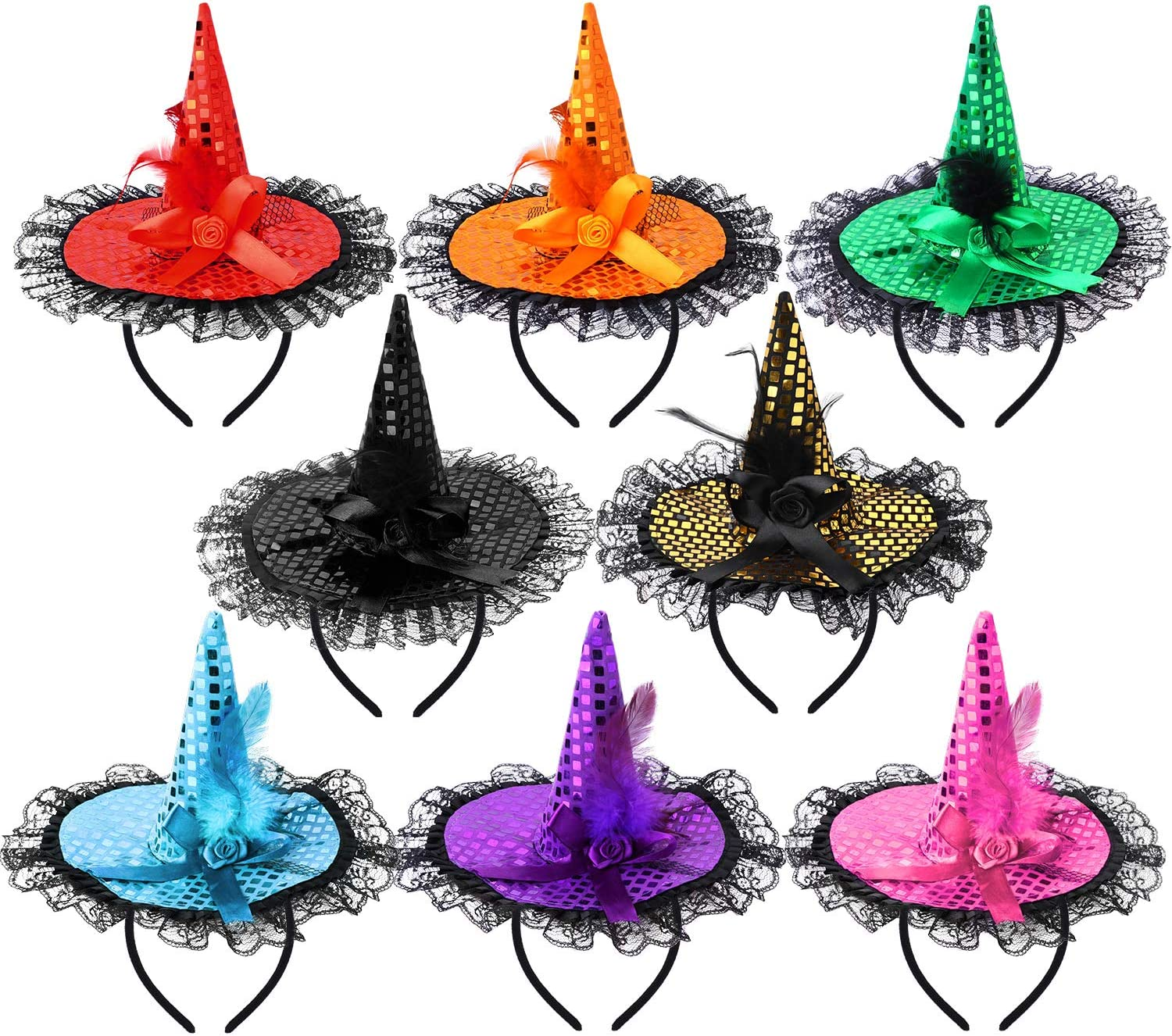 ADXCO 8 Colors Halloween Sequins Witch Hat Headbands Halloween Costume Headwear for Halloween Party Supplies: Toys & Games