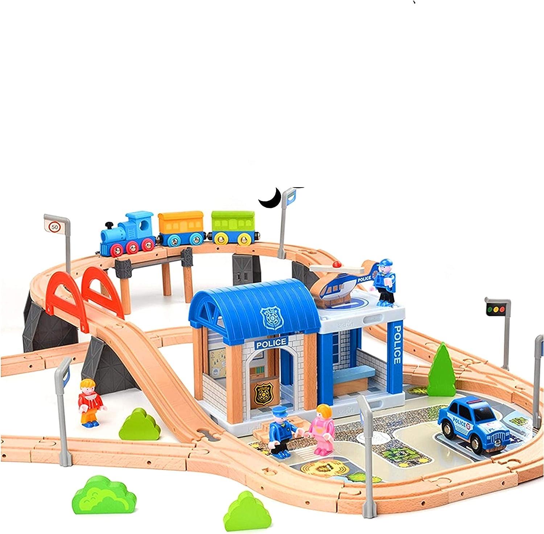 Juego de tren de madera para niños, tren con rieles de madera, 90 piezas, estación de policía, combinable