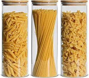 ComSaf Glass Spaghetti Pasta Storage Container with Lids 74oz Set of 3, Tall Clear Airtight Food Storage Jar with Bamboo Cover Kitchen Pantry Storage Container for Noodles Flour Cereal Coffee Beans