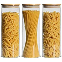 ComSaf Glass Spaghetti Pasta Storage Container with Lids 74oz Set of 3, Tall Clear Airtight Food Storage Jar with Bamboo…