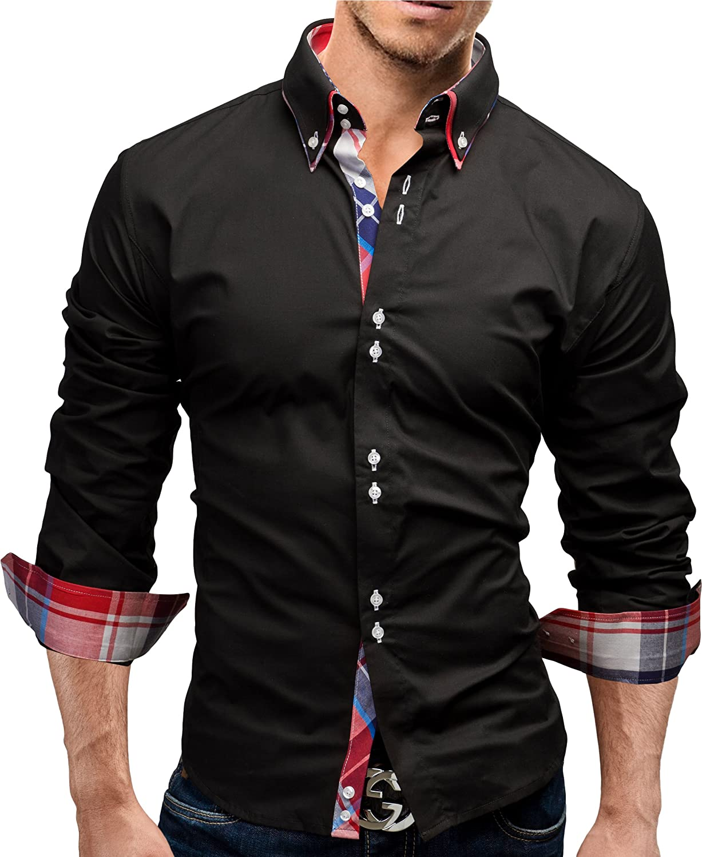 MERISH Camisas para Hombre Camisa de Manga Larga Oficina, Ocio y Otras Ocasiones, Modell 17 Negro S: Amazon.es: Ropa y accesorios
