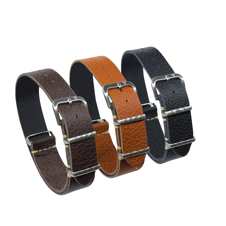Oneストラップ、イタリアレザー腕時計バンドでチョコレートブラウン、タンまたはブラックby Dakota 18 ブラウン  ブラウン 18 B071XB4Q69