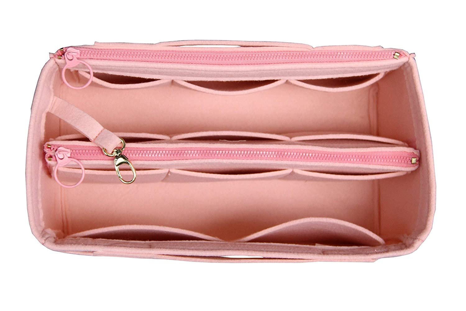 [Fits Neverfull MM/Speedy 30, Rose Ballerine] Felt Organizer (Invisible Handles, Zip Pocket, Key Chain Hook, Detachable Compartments), Bag in Bag, Wool Purse Insert, Customized Tote Organize