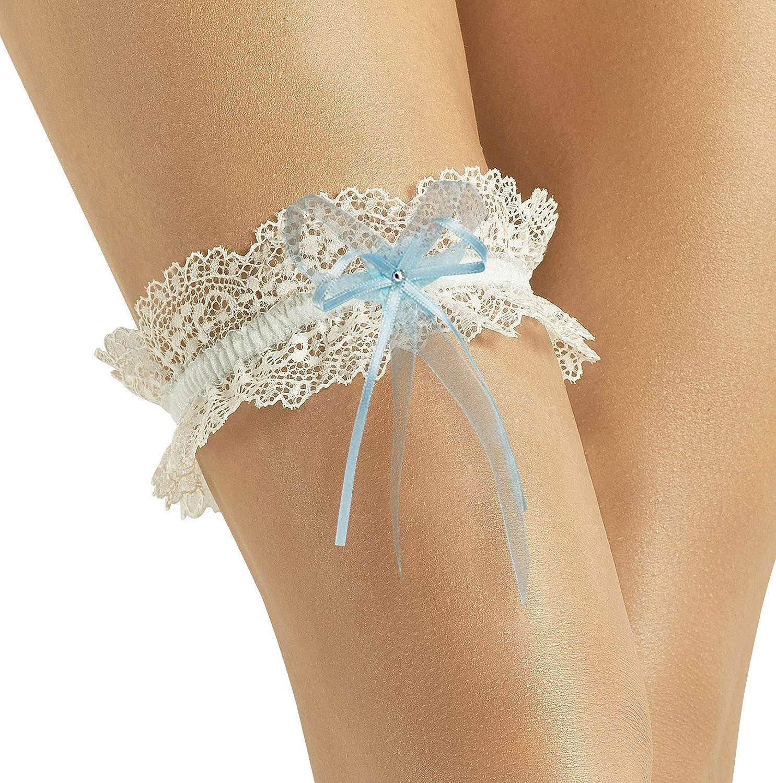 VINTAGE Bridal Wedding Garter – Elegant w/Lace Sparkling Crystal – IVORY/BLUE