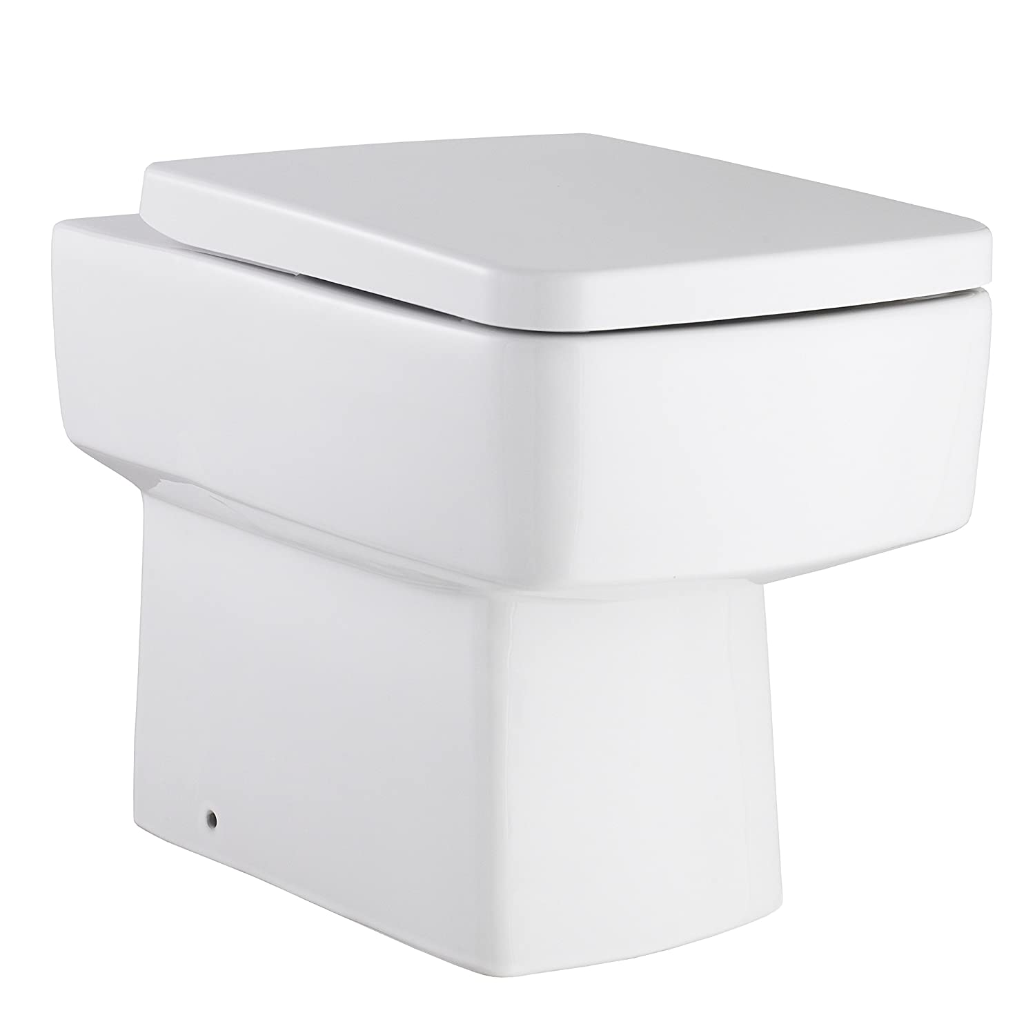 Esq Back to Wall Toilet Pan, Seat Gloss White Modern Square Bathroom En-suite Pottery Ultra