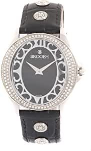 Brogeh Watch for Unisex, Black Leather Band, 6084-2