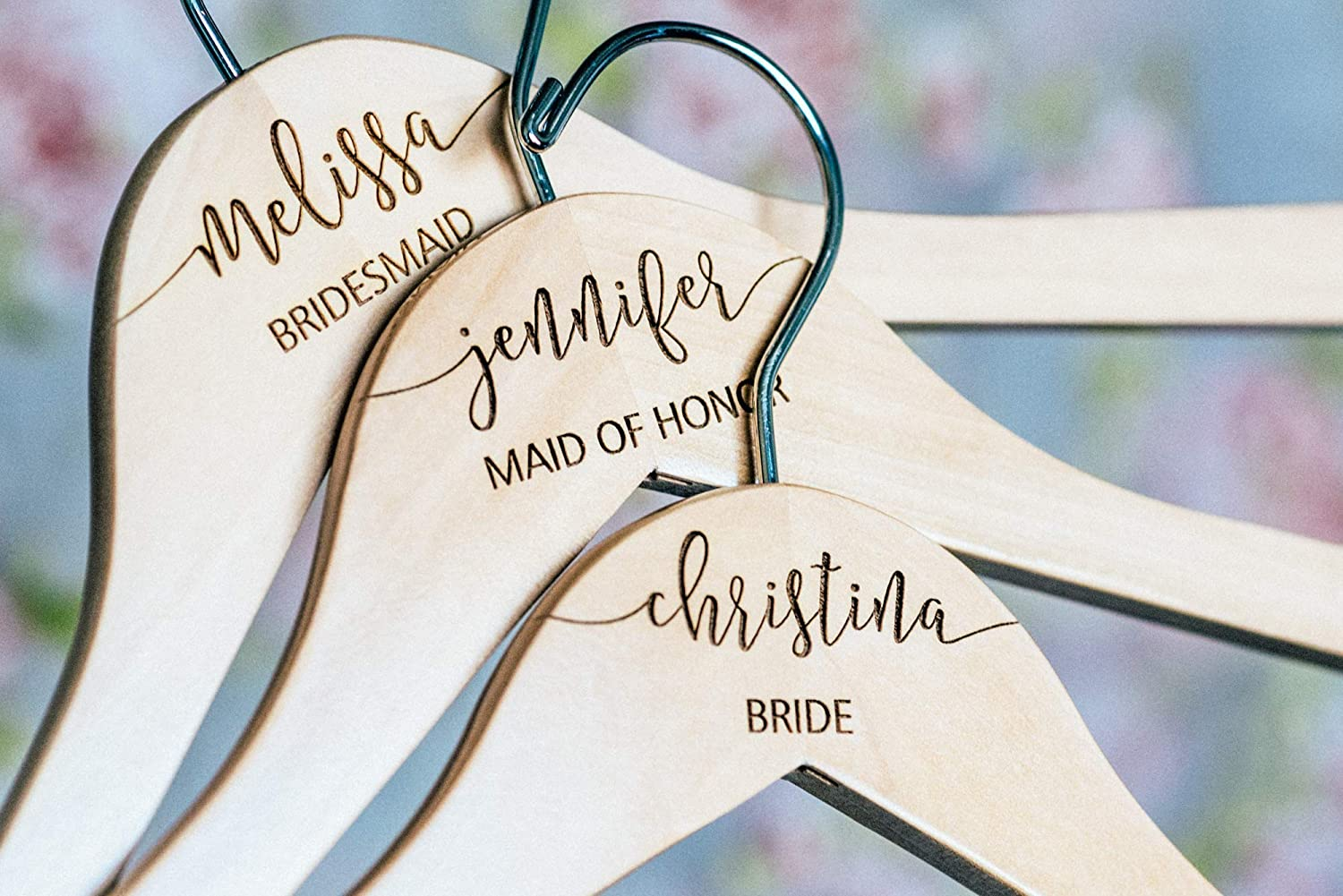 Personalized Calligraphy Wedding Hanger for Bride or Bridesmaid