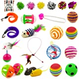 Holicolor 25 Pieces Cat Toys for Kitten Includes Wand, Massager, Balls, Bells, Mice, Catnip Cushion & More (colorful)