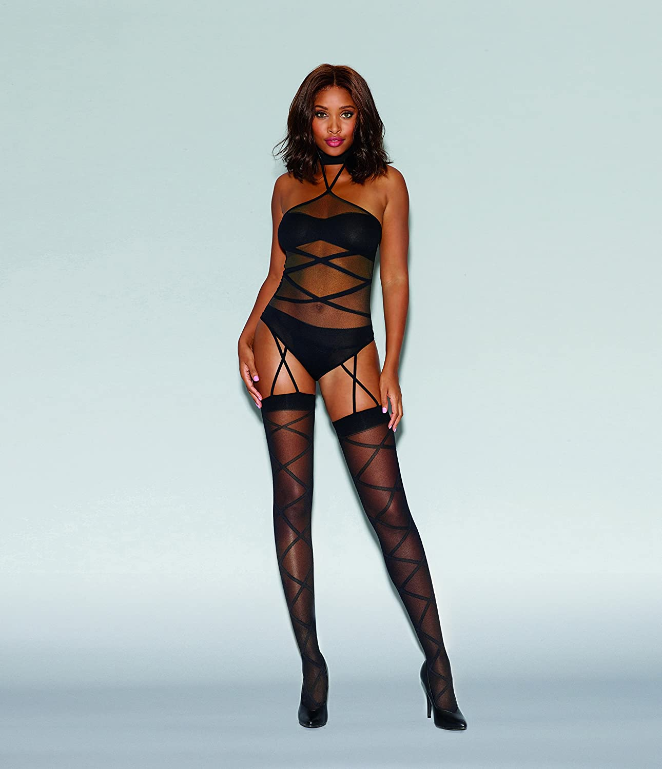 030a8d8a500 DreamGirl Women s Sheer Teddy Bodystocking with Opaque Knitted Bra with  Panty Attached Criss-Cross Garters and Thigh High Stockings