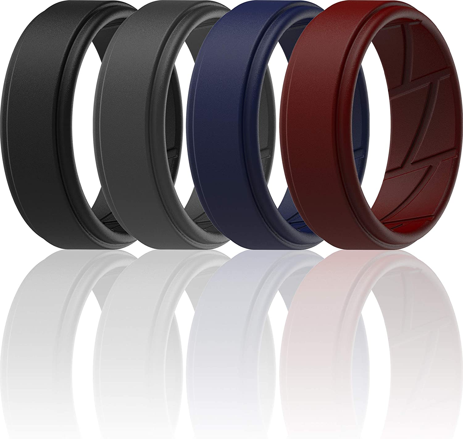 2mm Thick 7 Rings // 4 Rings // 1 Ring Step Edge Sleek Design Breathable Rubber Engagement Bands ThunderFit Silicone Wedding Rings for Men Breathable Airflow Inner Grooves 8mm wide