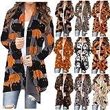Women's Halloween Long Sleeve Open Front Cardigan Funny Cute Pumpkin Black Cat Ghost Graphic Tops Lightweight Coat