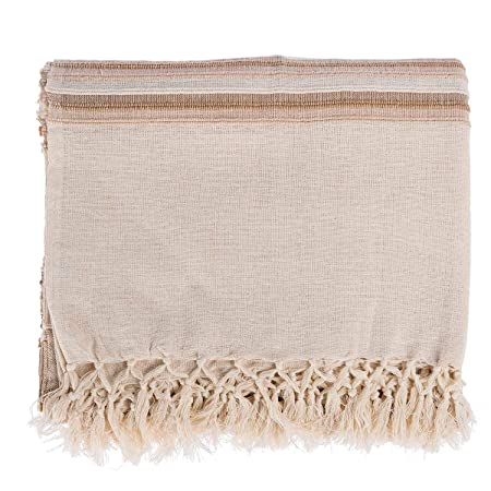 """Home & Garden Reasonable Stitch Striped Woven Brown 100% Cotton Tasselled Double Throw Blanket 90""""x100"""" Afghans & Throw Blankets"""