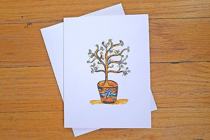 rude hanukkah card hanukkah bush adult hanukkah card greeting cards watercolor - Funny Hanukkah Cards