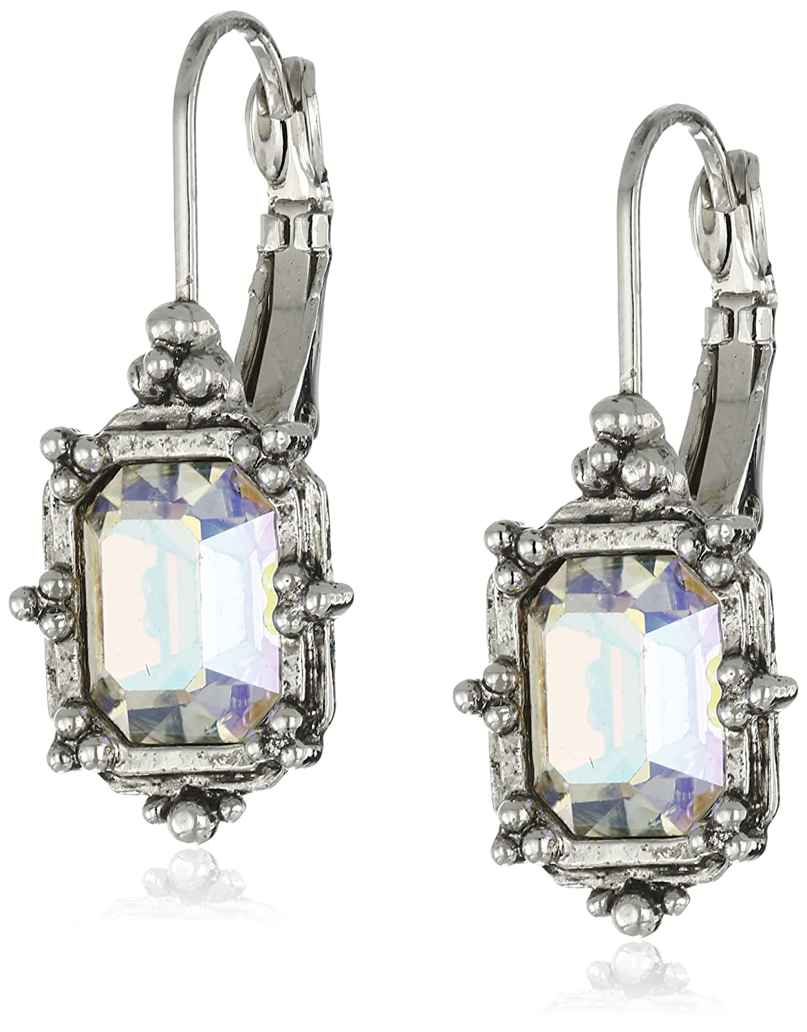 1928 Jewelry Silver-Tone Aurore Boreale Octagon Drop Earrings 24283