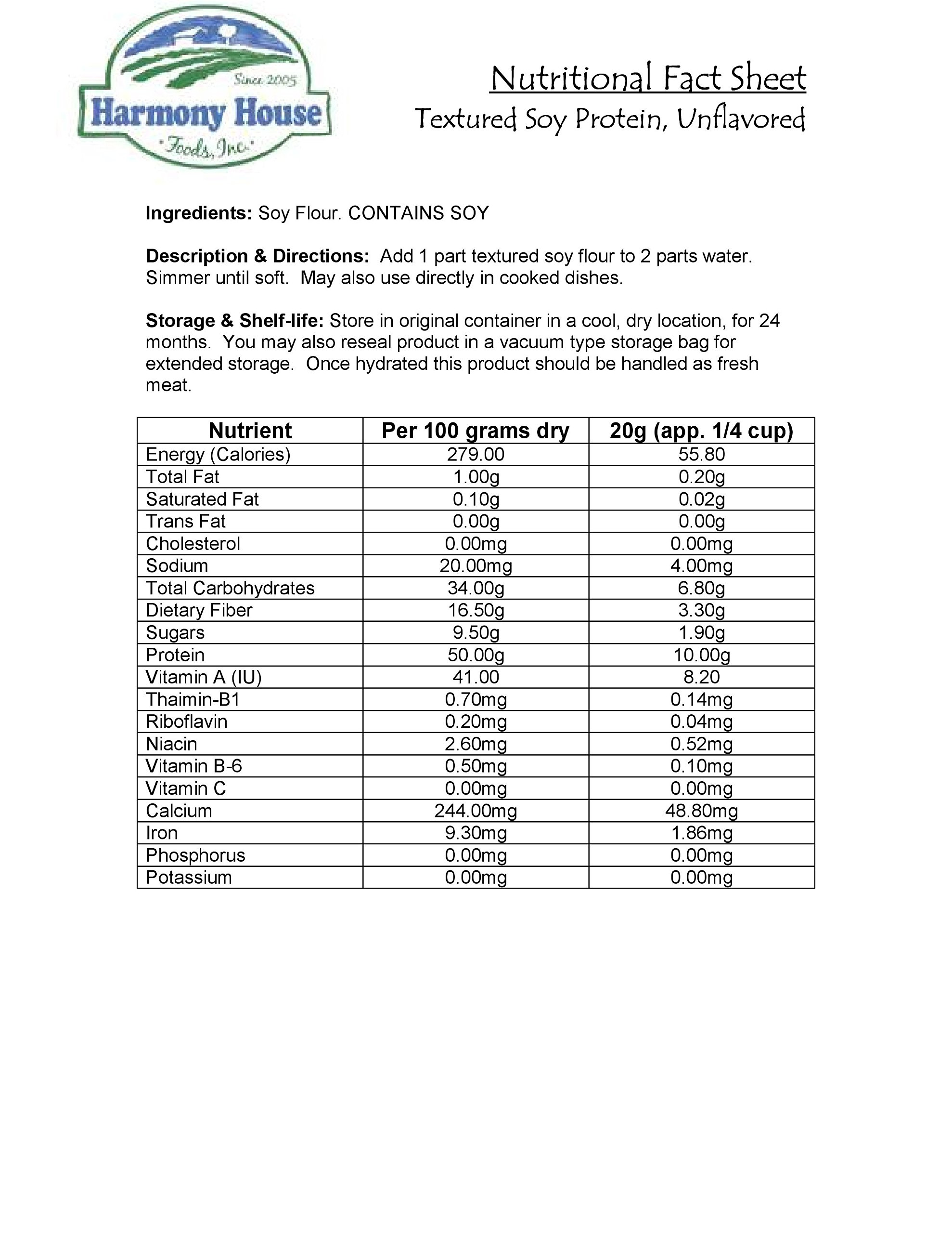 Harmony House Foods Textured Soy Flour, Plain (15 Lbs Bulk Box) - Set of 6 by Harmony House Foods (Image #1)