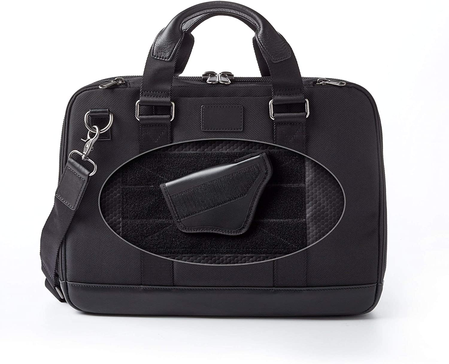 Dalys1895 Concealed Carry Briefcase Travel Bag Laptop Bag, Leather and 1680 Ballistic Nylon