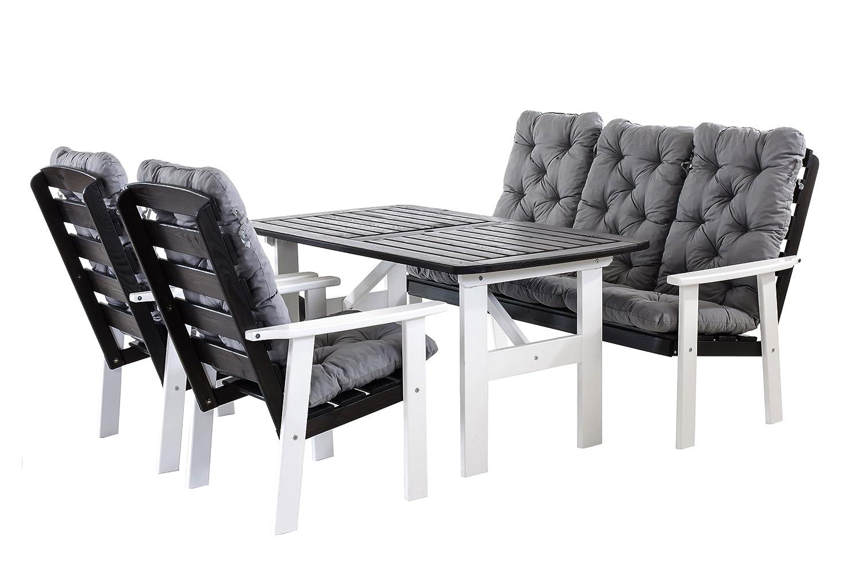 Ambientehome 90399 9 teilig Garten Sitzgruppe Essgruppe Loungegruppe Gartenmöbel Essgarnitur Hanko Maxi mit Kissen, weiß/grau