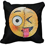 Emoji Sequined Cushion Covers, Reversible Sequin Mermaid Pillow Case, Changeable Emoji Face Pillow Cases, Throw Pillow Cover Decorative Pillow Case for Home and Office Decor 16 x 16 inches
