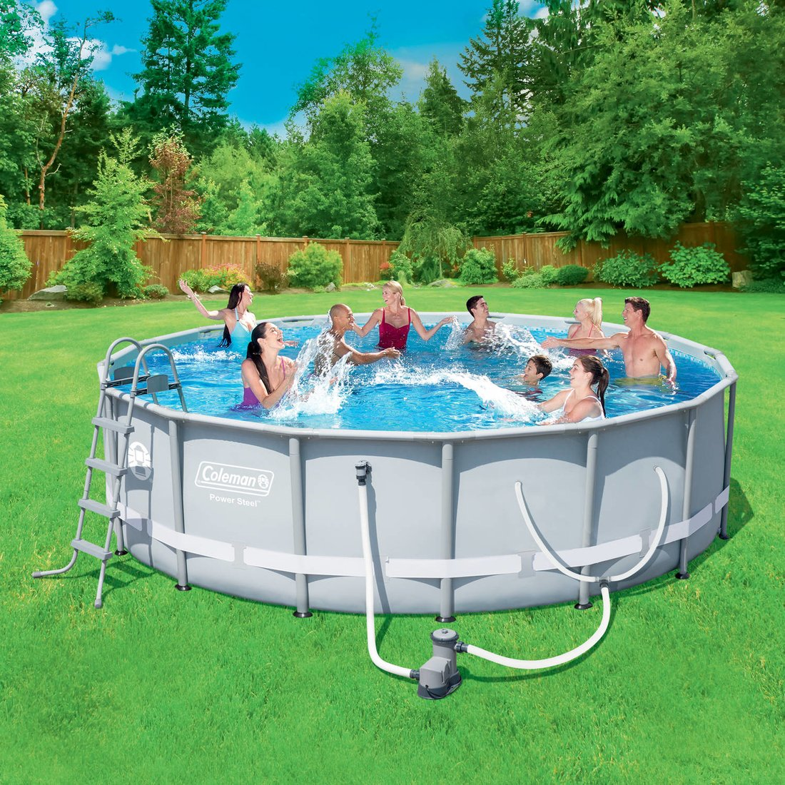 Power Steel Frame Swimming Pool 16' x 48'' Set with Filter Pump, Ladder, Cover and Maintenance Kit by ColemanPower