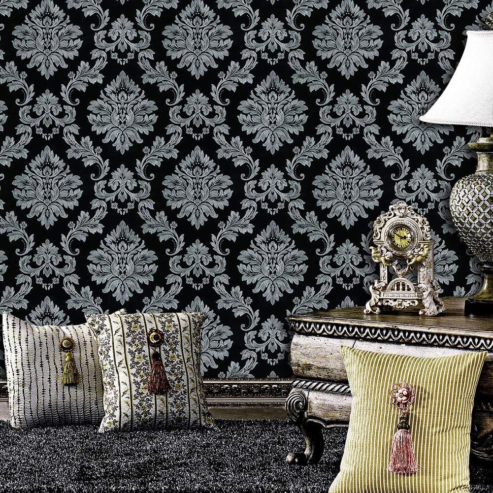 Jz Home 5330 Luxury Damask Wallpaper Rolls Silver Grey Black