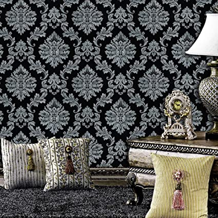 Jz Home 5330 Luxury Damask Wallpaper Rolls Silver Grey Black Embossed Texture Victorian Wall Paper Home Bedroom Living Room Hotels Wall Decoration 20 8in 32 8ft Amazon Com