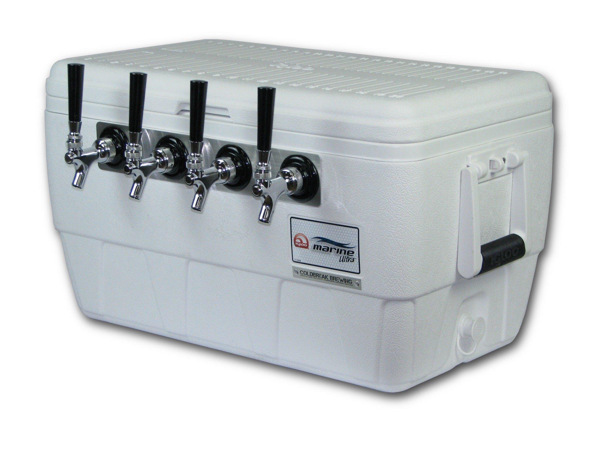 Coldbreak Brewing Equipment CBJB48QT4T Jockey Box, 4 Tap, Marine Pass Through, 48 quart Cooler, 50' Coils, 0.25'' ID, 0.3125'' OD, Stainless Steel, White