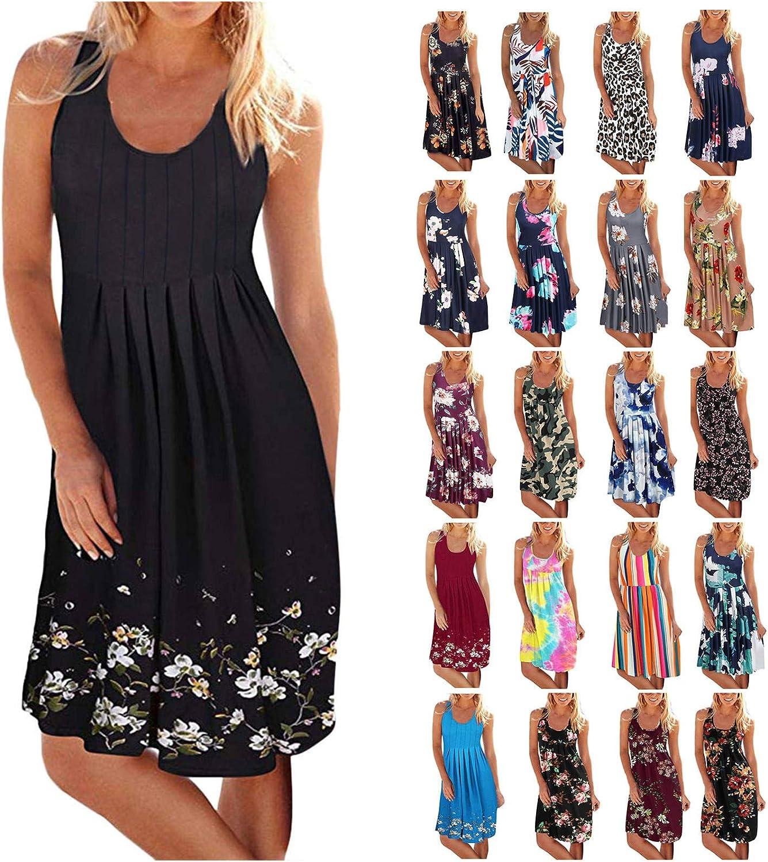 Summer Dresses for Women, Women Summer Casual Sleeveless Mini Dresses Sun Dresses for Beach Wedding Party
