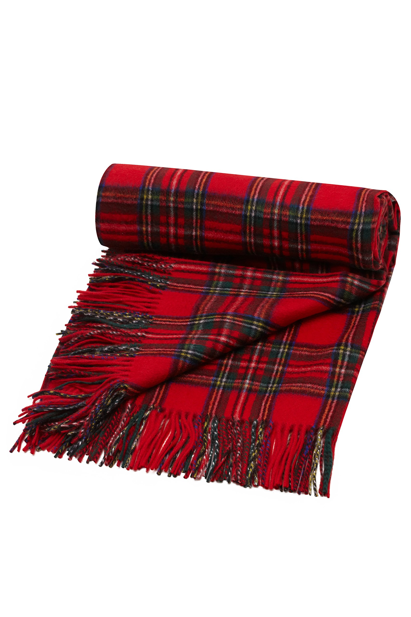 Oxfords Cashmere Pure Cashmere Tartan Blanket, Royal Stewart-One Size