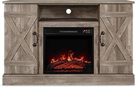 "BELLEZE Infrared Electric Fireplace - with Remote Control TV Stand Entertainment Center for TV's Up to 50"", Ashland Pine"