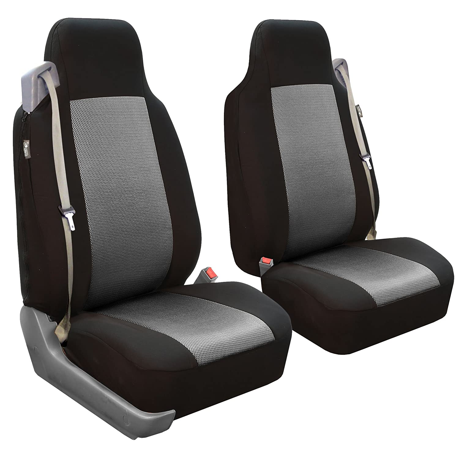 Solid Built-in Seatbelt Compatible FH Group FB302BLACK102 Black Classic Cloth Front High Back Seat Cover Set of 2