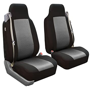 FH Group FB302GRAY102 Gray Classic Cloth Built In Seatbelt Compatible High Back Seat Cover