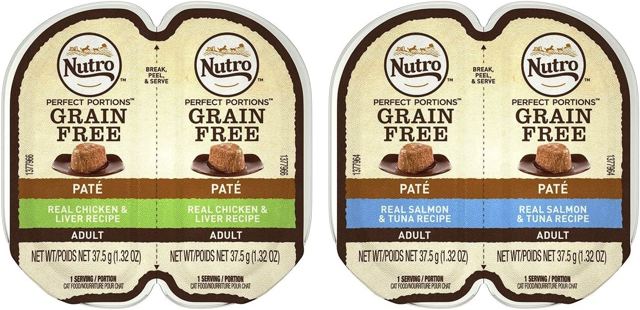 Nutro Perfect Portions Grain Free Soft Loaf Cat Food 2 Flavor 8 Can Variety Bundle, (4) Each: Salmon & Tuna, and Chicken & Liver - 2.6 Ounces (8 Cans Total)