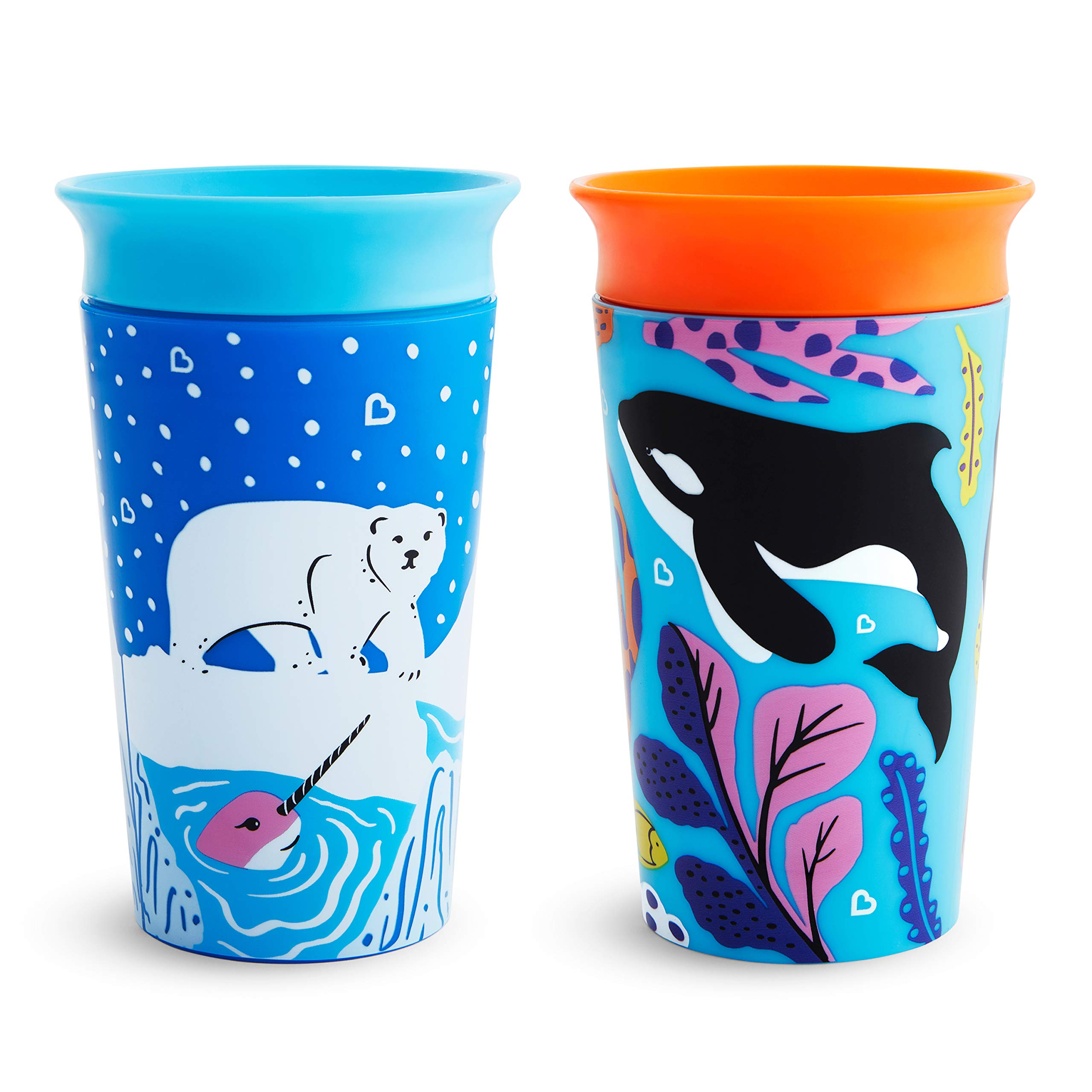 Munchkin Miracle 360 WildLove Sippy Cup, 9 Ounce, 2 Pack, Polar Bear/Orca by Munchkin