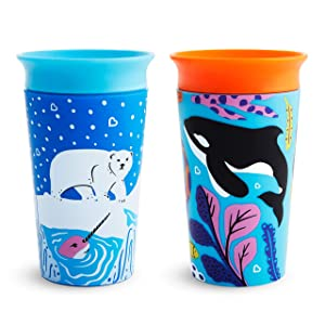 Munchkin Miracle 360 WildLove Sippy Cup, 9 Ounce, 2 Pack, Polar Bear/Orca