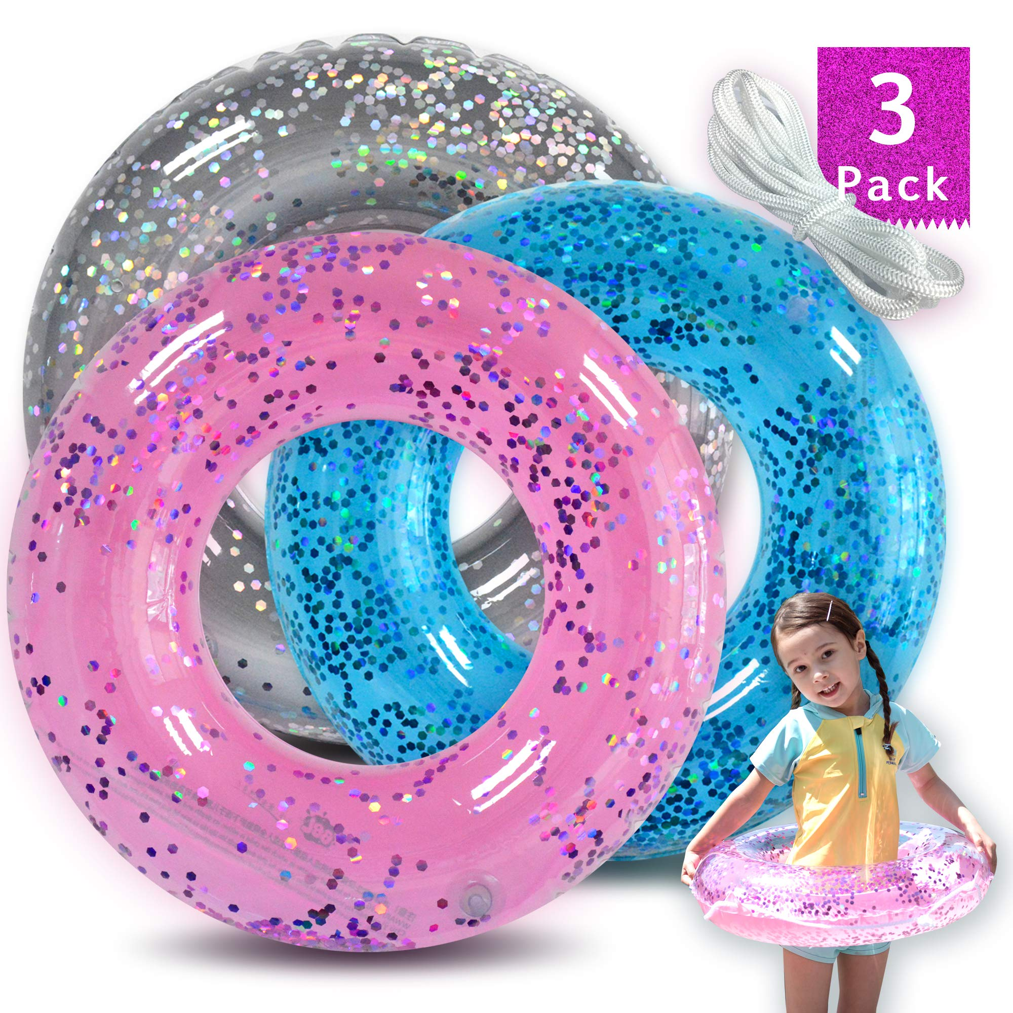 Animism Glitter Pool Tube (3Pack) with Pink Blue Sliver, Inflatable Swim Ring, Pool Toys for Summer Party Decorations by Animism