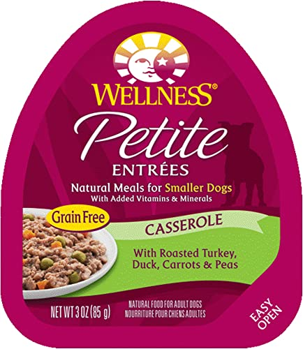 Wellness Petite Entrees Natural Grain Free Wet Small Breed Dog Food, 3-Ounce Cup Pack Of 24 Casserole Turkey Duck
