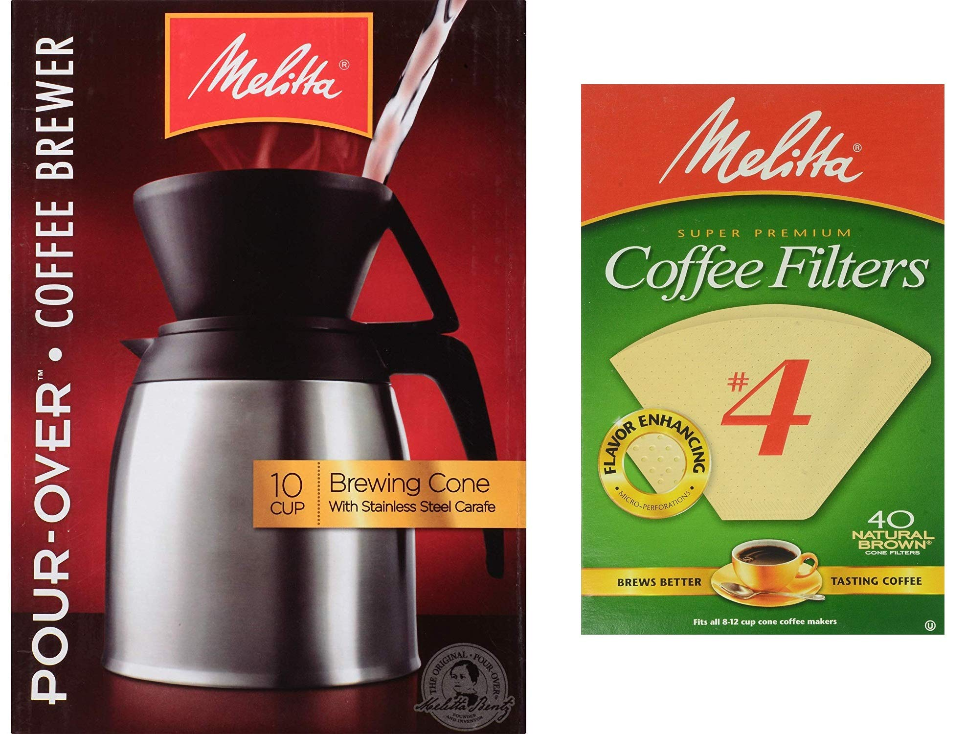 Melitta Thermal Carafe 10-Cup Pour-Over Coffee Brewer with 40 Extra #4 Natural Brown Cone Filters by Taradactile