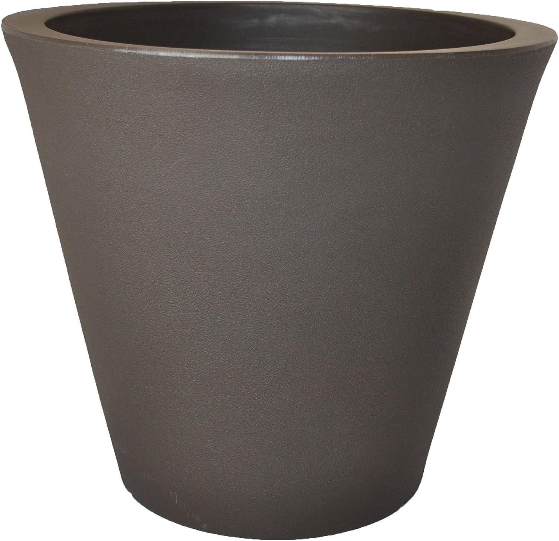 Tusco Products CR16ES Cosmopolitan Round Garden Planter, 16 by 9.5-Inch, Espresso