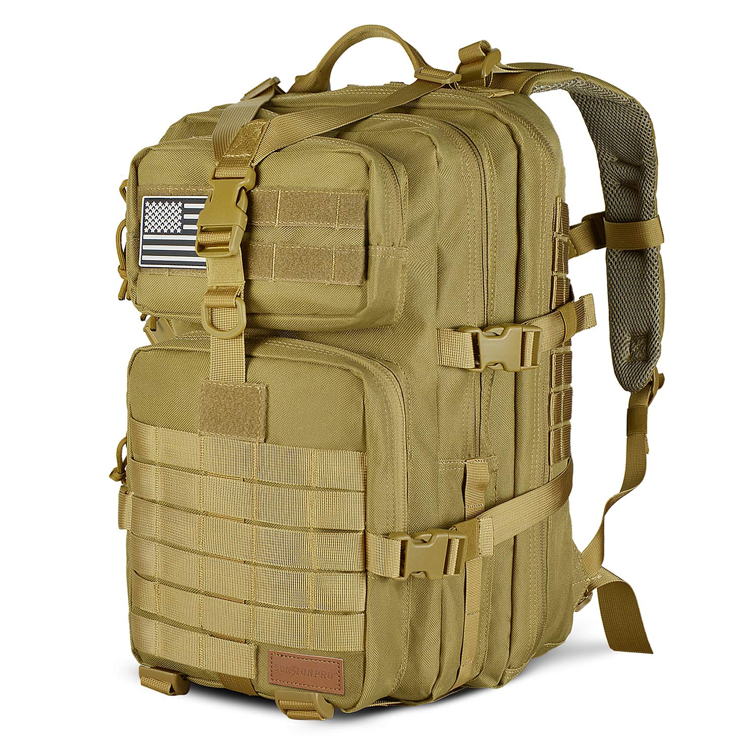 SunsionPro MTB-231 Military Tactical Backpack Large Army 3 Day Assault Pack Molle Bag Travel Rucksacks for Outdoor Hiking Camping Trekking Hunting, 43L (Coyote)
