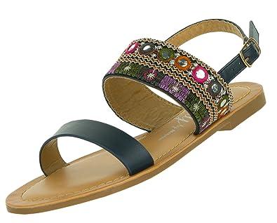 Beppi Sandalen für Damen   Sommerschuhe für Frauen   Elegante Damensandalen  mit Flachem Absatz   Größe 3b539ad0b5