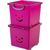 Iris Ohyama, set - 2 grandes boîtes de rangement pour jouet sur roulette - Smiley Kids Boxes - KCB-32, gris, 25 L, 32 x 33 x 29 cm