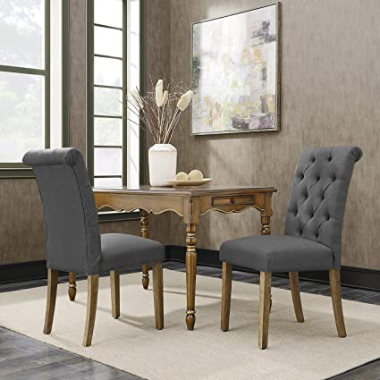 Fine Amazon Com Belleze Tufted Dining Chair Parsons Linen Onthecornerstone Fun Painted Chair Ideas Images Onthecornerstoneorg
