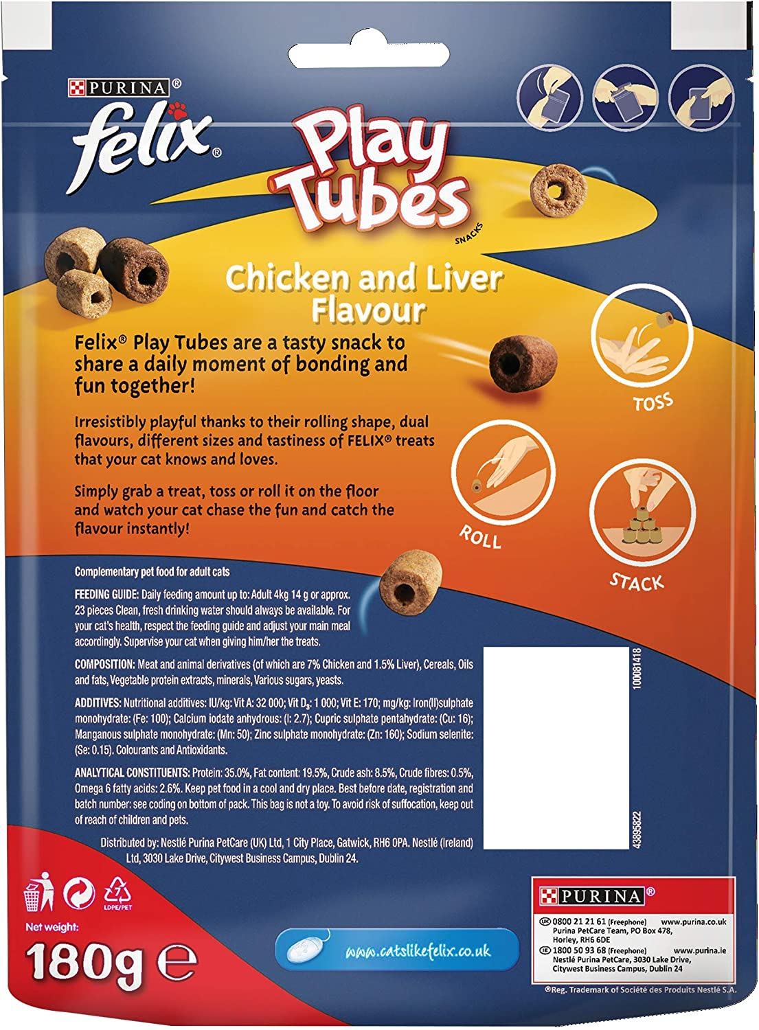 180g Felix Play Tubes Cat Treats Chicken And Liver Maxi Pack