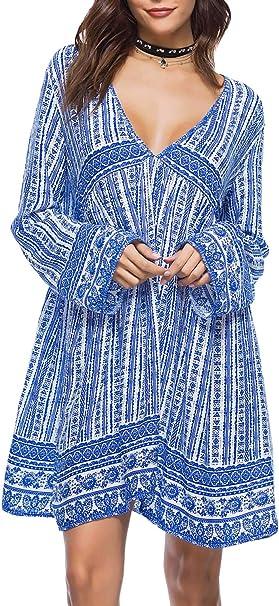 Doballa Damen Boho Strandkleid Langarm Tunika Sommerkleid V Ausschnitt Kleid Lose Blumenkleid Floral Minikleid Amazon De Bekleidung