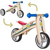 BIKESTAR 2 in 1 Bicicleta sin Pedales Madera para niños y niñas Bici Ajustable 7 Pulgadas | Bicicleta y Triciclo Mini a…