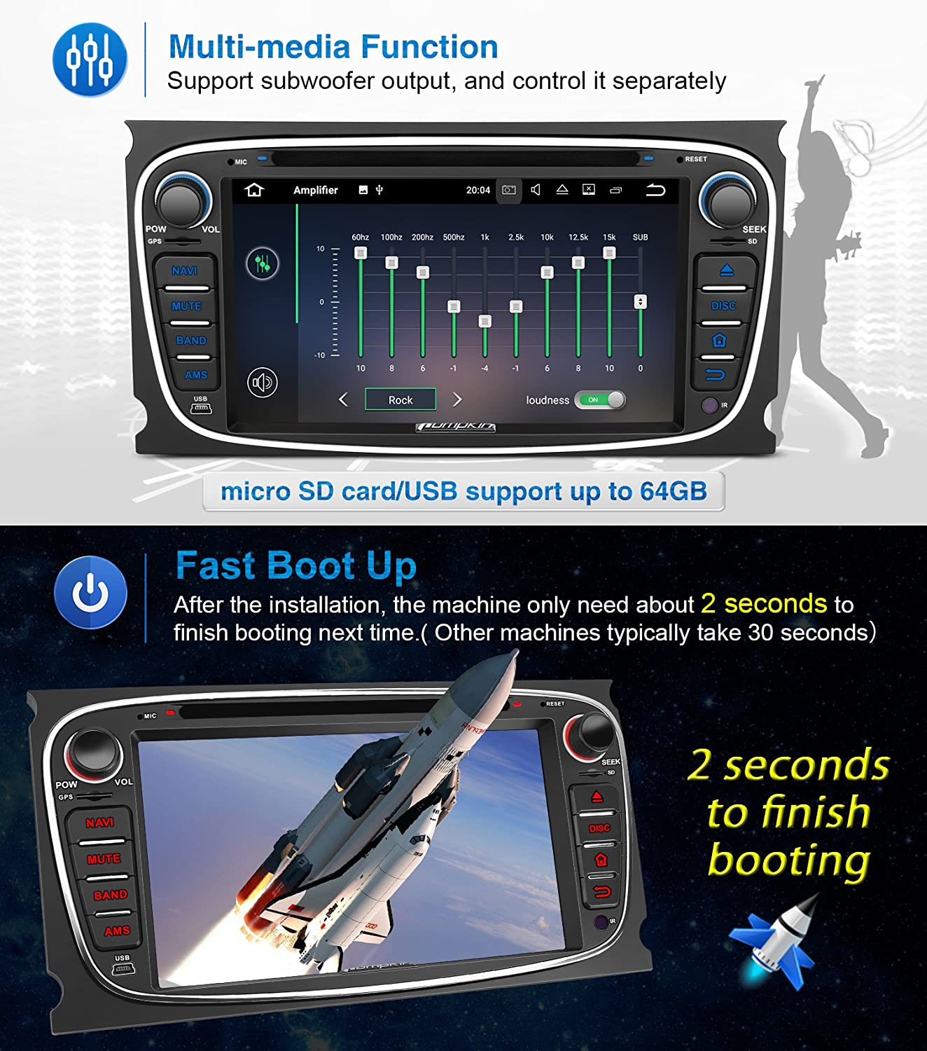 Pumpkin 2gb 32gb Android 71 Car Stereo Bluetooth For Ford Turneo Audio Wiring Uk Electronics