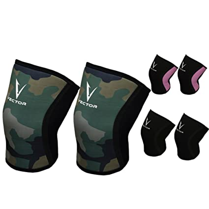 6fe5c30c9f Vector Compression Knee Sleeves Patella Support Brace 5mm Neoprene for  Powerlifting Weightlifting Crossfit or Any Workout Injury Protection and  Recovery ...