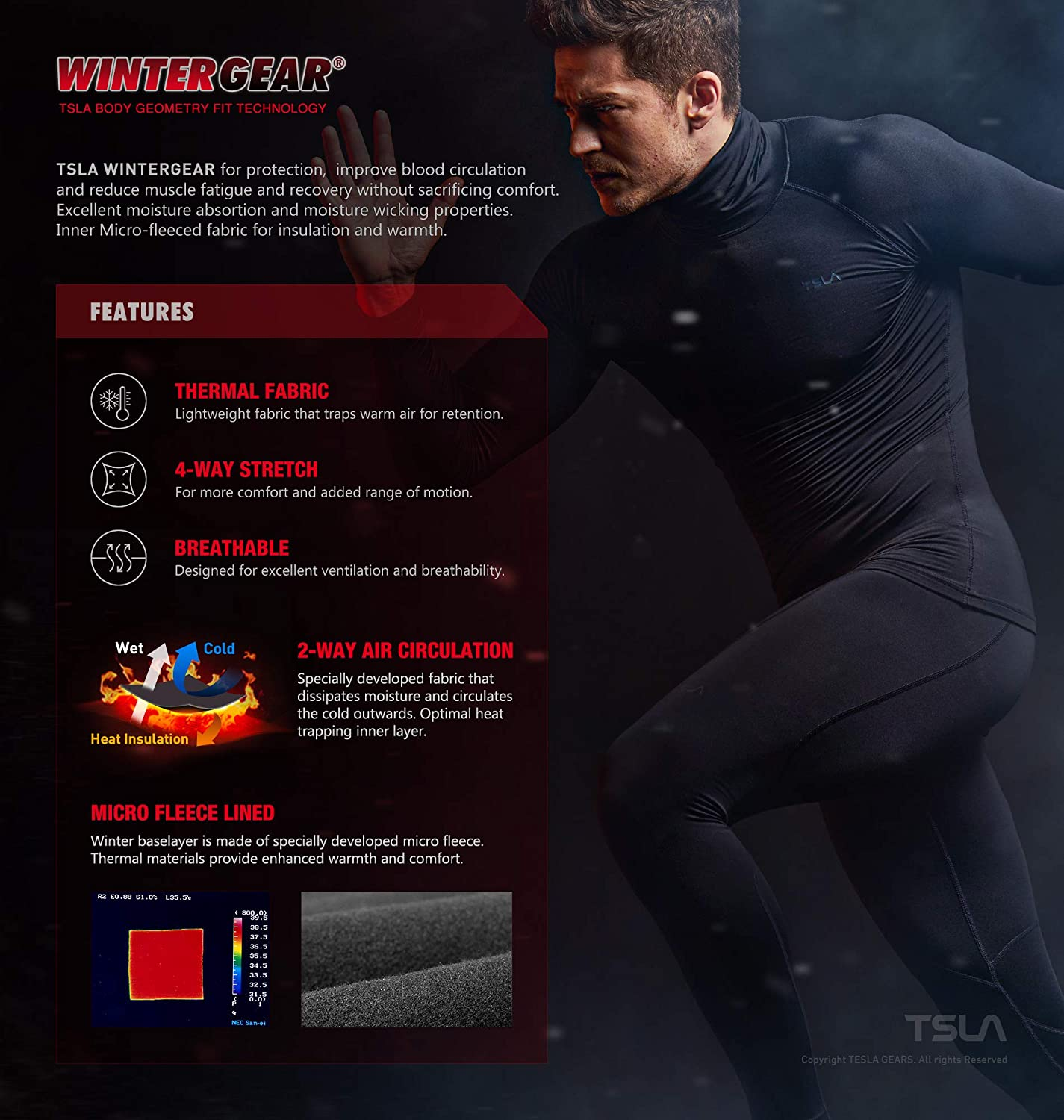 Athletic Running Tights /& Sports Leggings TSLA Mens Thermal Compression Pants Wintergear Base Layer Bottoms